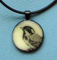 Original Encaustic Wearable Art Bird Pendant by WebandElmStudio. $20.00