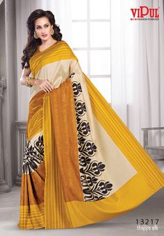 Mustard with Sandal Colored Semi Khadhi Silk with thread work Border and Mustard Colored Blouse Part @ Rs 1270 http://www.shreedevitextile.com/women/sarees/synthetic-fancy-sarees/shree-devi/mustard-with-sandal-colored-semi-khadhi-silk-13217