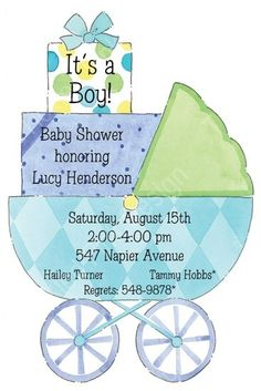 Baby Boy Carriage Cut Out Baby Shower Invitation #pictureperfect #babycarriage #babyinvitations