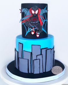 Spider Man Party, 6th Birthday Parties, Birthday Fun, Spiderman Birthday Cake, Miles Morales Spiderman, Cakes For Men, Spider Verse, Pastel, Themed Cakes