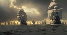 Flota de Indias navegando en conserva