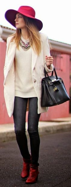 Adorable lapel coat, sweater, ladies shoes and leather handbag!