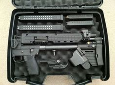 Kel Tec Sub 2000. Issued to certain Military groups as survival weapons. Uses Glock 9mm magazines. Also, completely customizable. Amazingly fun, cheap, accurate and easy to pack. Fantastic weapon.