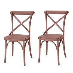 Joveco Econ-Friendly Nylon Vintage-Style Dining Chair Curved Leg Cross Back, Cuba Coffee (Set of 2)