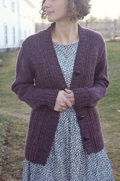 A classic cardigan with interesting lines at the shoulder and a beautifully delicate cable pattern on the body.Accented by bolder slipped stitches along the fronts, the patterned body is set off by simple stockinette sleeves and shoulders. These distinct, tailored shoulders show up beautifully in the heathered yarn, and the switch to stockinette makes knitting the shaping portion nice and easy!Knit from the bottom up and separated at underarms. Shoulders are seamed, and sleeves are picked up…