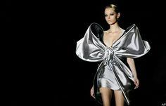 Silver satin bow dress-LOVE!