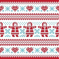 Illustration of Christmas, Winter knitted pattern, card - scandynavian sweater style vector art, clipart and stock vectors. Fair Isle Knitting Patterns, Knitting Charts, Knitting Designs, Knitting Stitches, Knit Patterns, Cross Stitch Patterns, Intarsia Knitting, Motif Fair Isle, Fair Isle Chart