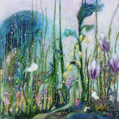 Secret garden painting by kume bryant. Acrylic Painting Canvas, Canvas Art, Framed Canvas, Painting Tips, Original Paintings, Original Art, Thing 1, Fantasy Paintings, Garden Painting
