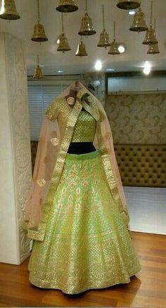 Looking for light green lehenga? Browse of latest bridal photos, lehenga & jewelry designs, decor ideas, etc. on WedMeGood Gallery. Indian Bridal Fashion, Indian Bridal Wear, Indian Wear, Bride Indian, Punjabi Bride, Indian Dresses, Indian Outfits, Indian Clothes, Green Lehenga