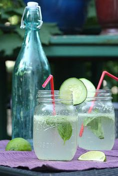 Cucumber Basil Spritzer (booze-free)...will be nice for an afternoon on the porch.