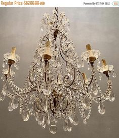 Excited to share the latest addition to my #etsy shop: Vintage Crystal Chandelier from Italy, Rare Murano Crystal Beaded 6 Light Swag Chandelier, Antique Chandelier, Free Shipping USA