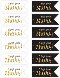 Free New Year's Eve Champagne Flute Tags Printables | Pizzazzerie.com