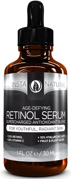 Insta Natural Age-Defying Retinol Serum, €25 for 30 ml bottle at Amazon.de. This little thing has 2.5% retinol, 20% Vitamin C, 10% Hyaluronic Acid