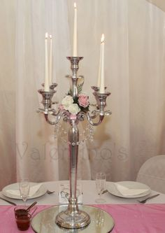 Silver Candelabra with faux Pink & Ivory Rose and Glass Crystal Garland. To hire from Valentino's Venue Stylists on Facebook. Available in 78 cm Silver and Cream