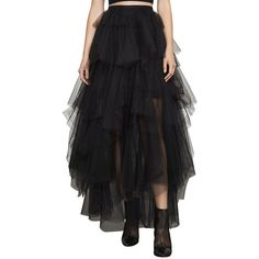BCBGMAXAZRIA Women's Camber Layered Tulle Maxi Skirt (€325) ❤ liked on Polyvore featuring skirts, black, long tiered skirt, long tulle skirt, tulle skirts, ankle length skirt and long ankle length skirts