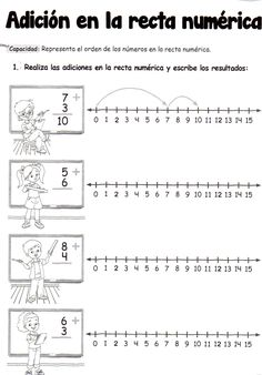 Adición en la recta numérica: 5 años - Material de AprendizajeMaterial de Aprendizaje 1st Grade Math Worksheets, 2nd Grade Math, Preschool Math, Teaching Math, Math Resources, Math Activities, Math Words, Primary Maths, Math Addition