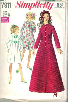 """Vintage 1968 Simplicity 7911 Robe in Two Lengths Sewing Pattern Size 14 Bust 36"""" by Recycledelic1 on Etsy"""