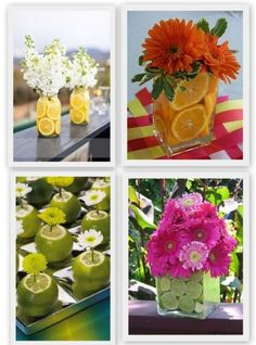 Summer garden party decor, fruit-inspired centerpiece, easy summer patio decor, colorful centerpiece