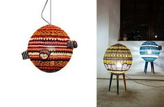 scarfty lamps are contemporary lighting fixtures with unique lampshades made with knitted and crocheted patterns