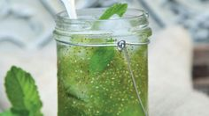 Honeydew Mint Chia Fresca - In addition to giving chia frescas like this one a beautiful emerald color, liquid chlorophyll is highly alkaline and has the power to help rebuild and replenish red blood cells.