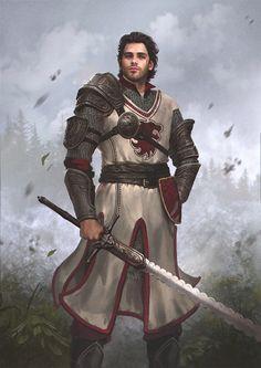 Ailfir von Donnerbach, aspirante a comandante das tropas reais, um guerreiro clássico e experiente, benevolente por natureza