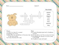 Vocabulary Crossword Puzzle - 2nd Grade - Journeys Lesson 3
