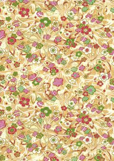 Japanese Yuzen Chiyogami Washi Paper (Floral Design 37)    A top quality A4 sheet of beautiful Chiyogami Paper, ideal for invitations and
