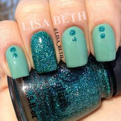 OPI - Mermaid's Tears // Pirates Of The Caribbean Collection with China Glaze - Atlantis on accent nail