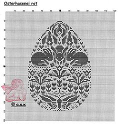 Rabbits and garden cross stitch Easter egg
