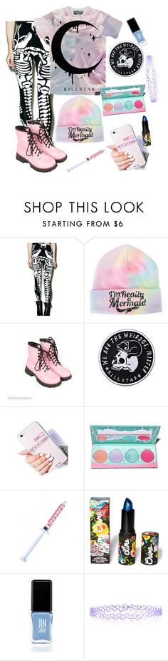 """because ya' know"" by chickadeeanya ❤ liked on Polyvore featuring Kill Star, Dr. Martens, Killstar, Sugarpill, Glitter Injections, Lime Crime, JINsoon and Monsoon"