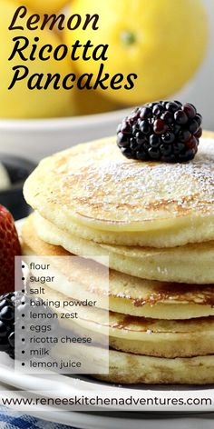 Homemade Lemon Ricotta Pancakes by Renee's Kitchen Adventures. Light and fluffy pancakes made with fresh lemon and ricotta cheese, similar to the ones served at Sarabeth's restaurants in NYC for breakfast and brunch! So easy to make right at home. #RKArecipes #pancakes #lemonricottapancakes #lemonpancakes #breakfast Best Breakfast Recipes, Brunch Recipes, Breakfast Ideas, Lemon Ricotta Pancakes, Souffle Pancakes, Breakfast Cookies, Breakfast Pancakes, Ricotta Cheese Recipes, Lemon Recipes