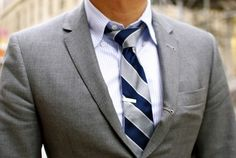 Gray and blue. Classic. And the short tie clip seals the deal.