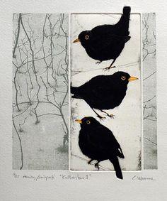 "This is Sooooooo Amazing!!!! Not quite ""Corvid"", but.....they are ""black birds"".  from Swedish Printmakers"