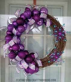DIY Purple Winter Wreath using ornament bulbs and grapevine wreath