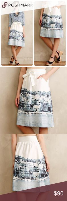Anthropologie Harborside wrap skirt Beautiful unique skirt. Lovely fabric with a great pattern. Has lovely deep pockets and fits true to size. ❤️😘Falls nicely just below knees. Slightly gathered A-line with a front tie belt on a wide stitched waistband.💞Cotton, spandex; cotton lining, Adjustable sash, Side zip, Machine washable😘😘NWOT length 26\