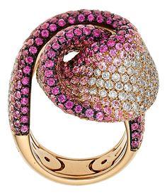 Diamond, Pink Sapphire, Pink Gold Ring. Palmiero