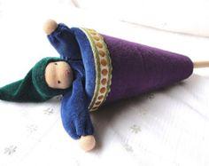 Rainbow gnome Waldorf doll // Cone Puppet peek-a-boo by TaleWorld