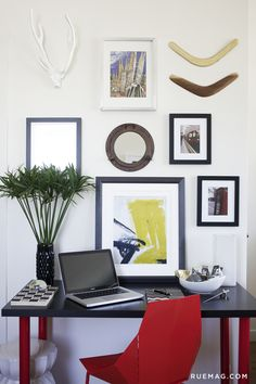 10 Offices that Optimize Above the Desk Décor | Rue Select several shapes and use them in repetition to tie a gallery wall together.
