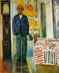 Selvportrett mellom klokken og sengen (Self-portrait  between the clock and the bed) Edvard Munch 1940-43
