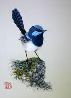 """Margaret Lee, """"Roitelet Bleu"""", 49 x 60cm Oui, oui, il s'agit bien de broderie...                                                                                                                                                                                 Plus"""