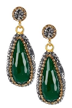 Grand Bazaar Crystal Trimmed Stone Drop Earrings from HauteLook on shop.CatalogSpree.com, your personal digital mall.