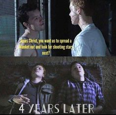 My guy said that the moonlight was nice.but he needed to go 😂 Shameless Mickey And Ian, Shameless Tv Show, Ian And Mickey, Shameless Memes, Shameless Characters, Jerome Valeska, Noel Fisher, Cameron Monaghan, True Romance