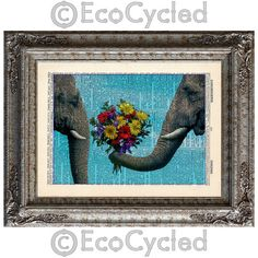 Elephants in Love on Vintage Upcycled Page Dictionary by EcoCycled, $10.00