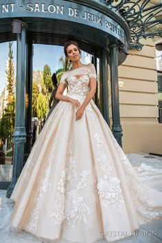 crystal design 2017 bridal off the shoulder wrap sweetheart neckline heavily embellished bodice princess romantic ball gown a line wedding dress royal train (emilia) mv