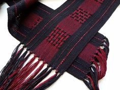 handwoven black and burgundy symphony scarf by masonke on Etsy