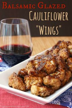 "Balsamic Glazed Cauliflower ""Wings"" is a sticky sweet and savory vegetarian appetizer that even the meat-eaters will love. My best and most popular recipe of 2014! 