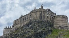 Edinburgh Castle from the foot of Granny's Green Steps at the Grassmarket.