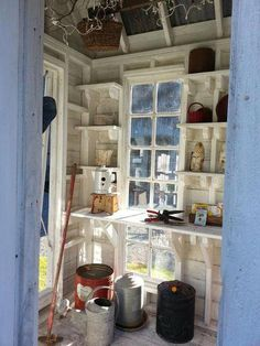 22 Awesome Potting Shed Interiors - Garden Shed Shed Organization, Shed Storage, Organizing, Backyard Sheds, Outdoor Sheds, Outdoor Gardens, Shed Conversion Ideas, Garden Shed Interiors, Shed Decor