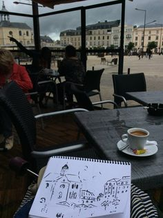 Sketching in #LeMans. #Zoia Skoropadenko #Coffee #Art