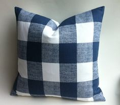 One Dark Blue Buffalo Check Zipper Pillow Cover by Pillomatic